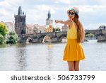 young female tourist enjoying... | Shutterstock . vector #506733799