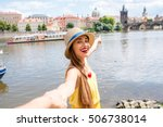 young female traveler showing... | Shutterstock . vector #506738014