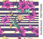 seamless pattern with bright... | Shutterstock .eps vector #506743660