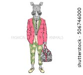 rhino dressed up in summer suit ... | Shutterstock .eps vector #506746000