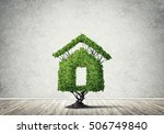 house shaped green tree as real ... | Shutterstock . vector #506749840