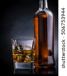 whiskey with ice cubes in glass ... | Shutterstock . vector #506753944