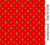 retro christmas seamless polka... | Shutterstock .eps vector #506767258