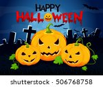 halloween background with... | Shutterstock .eps vector #506768758