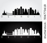 detroit usa skyline and