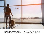 calm male tourist is standing... | Shutterstock . vector #506777470