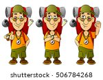 tourist with a backpack walking ... | Shutterstock .eps vector #506784268
