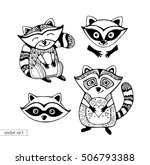 raccoons isolated. cute cartoon ... | Shutterstock .eps vector #506793388
