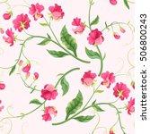 seamless sweetpea flowers | Shutterstock .eps vector #506800243