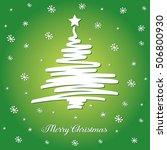 white christmas tree on green... | Shutterstock .eps vector #506800930