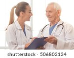 handsome old doctor and... | Shutterstock . vector #506802124
