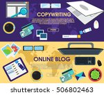 online blog and copywriting.... | Shutterstock .eps vector #506802463