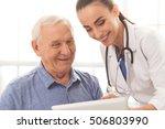 beautiful female doctor in... | Shutterstock . vector #506803990