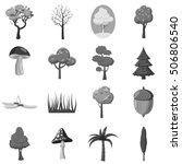 forest elements icons set. gray ... | Shutterstock .eps vector #506806540