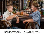 friends and beer. two male... | Shutterstock . vector #506808793