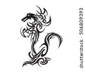 tribal dragon tattoo art vector ... | Shutterstock .eps vector #506809393