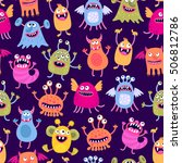 seamless pattern with funny... | Shutterstock .eps vector #506812786