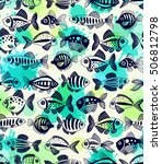 seamless pattern with... | Shutterstock .eps vector #506812798