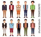 set of flat cartoon people. men'... | Shutterstock .eps vector #506818690