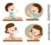 kids taking pills with glass of ... | Shutterstock .eps vector #506819950