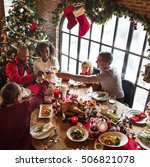 family together christmas... | Shutterstock . vector #506821078