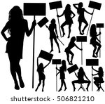 set of silhouettes of beautiful ... | Shutterstock .eps vector #506821210