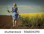 rear view of caucasian blonde... | Shutterstock . vector #506834290