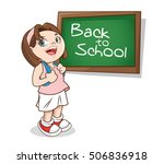 girl cartoon of back to school... | Shutterstock .eps vector #506836918