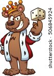 king bear balancing a dice on... | Shutterstock .eps vector #506845924