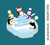 penguins playing snowball.... | Shutterstock .eps vector #506847340
