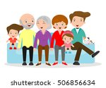 big family sitting on the sofa... | Shutterstock .eps vector #506856634