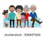 big family sitting on the sofa... | Shutterstock .eps vector #506857600