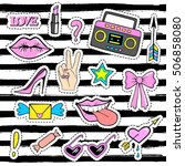 cute fashion patch badges with... | Shutterstock .eps vector #506858080