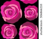 Roses Magenta On A Black....