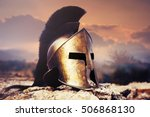 Spartan fiction helmet on rocks ...