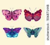 bright stylish butterflies ... | Shutterstock .eps vector #506871448