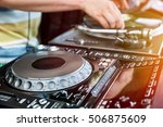 dj playing and mixes track on... | Shutterstock . vector #506875609