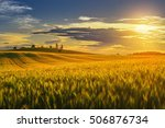 landscape with sunny dawn in a... | Shutterstock . vector #506876734