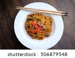 stir fried noodle with beef and ... | Shutterstock . vector #506879548