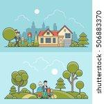 linear flat family walking on... | Shutterstock .eps vector #506883370