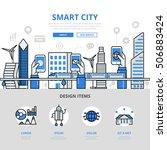 linear flat smart city app... | Shutterstock .eps vector #506883424