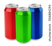 Small photo of Group of aluminum 500 ml beer cans isolated on white background with clipping path