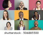 diverse group people photo... | Shutterstock . vector #506885500