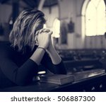 woman sitting church religion... | Shutterstock . vector #506887300