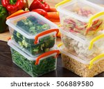 trays with raw vegetables for... | Shutterstock . vector #506889580