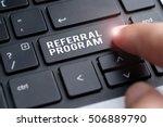 finger on laptop keyboard... | Shutterstock . vector #506889790