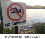 No Swimming Sign Posted On A...