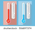 vector thermometer. hot and... | Shutterstock .eps vector #506897374