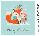 cute christmas greeting card... | Shutterstock .eps vector #506898043