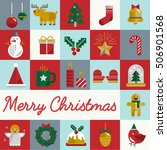 christmas vector icon set... | Shutterstock .eps vector #506901568
